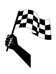 flag to start, finish racing in the hand