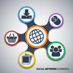 Social network elements, vector illustration