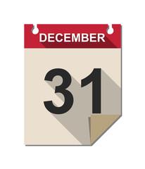 Vector calendar icon with long shadow