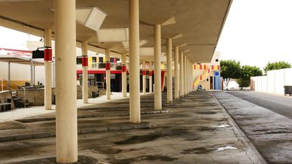 Terminal de autobuses en Arrecife, Lanzarote, Canarias