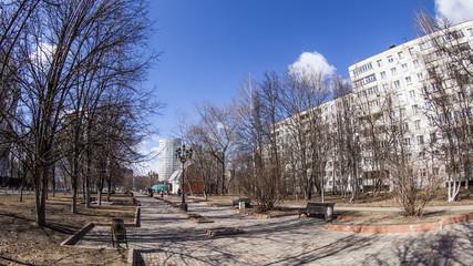 Pushkino, Russia. A spring sunny day in the boulvard