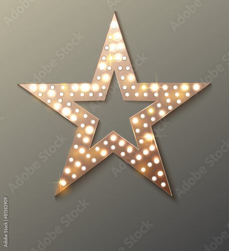 Star retro light banner. - 81363909