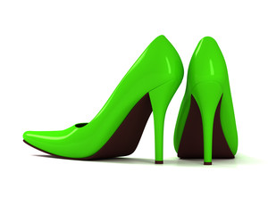 Green fashionable high-heeled shoes on white background