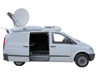 White tv newsman van with satellite dish antenna isolated over w