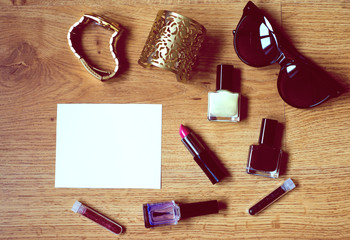 Still life of fashion woman with blank space