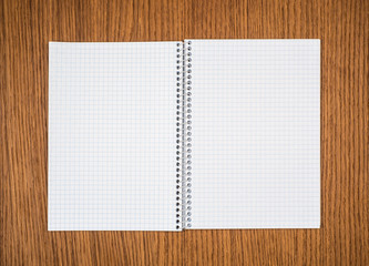 Open notebook on wooden table.