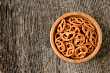 Bowl of crunchy pretzels