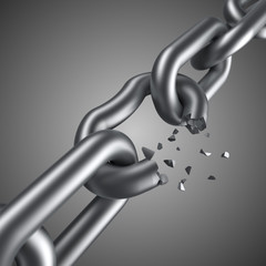 Steel chain breaking