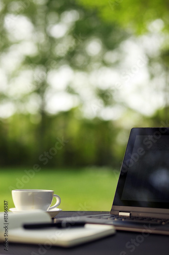 Laptop and coffee, outdoor office - 81366587