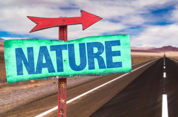 Nature sign with road background