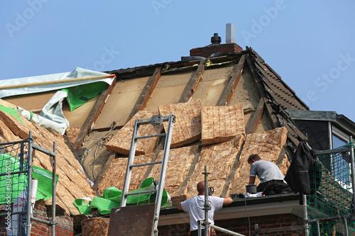 Leinwanddruck Bild Dachdämmung eines Altbaus_2