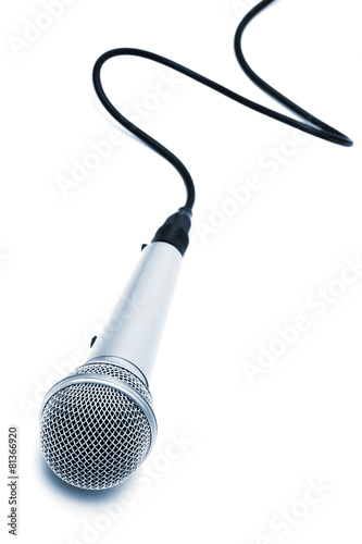 Leinwanddruck Bild microphone with a cable