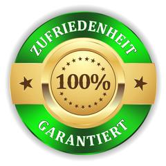 Gold 100 Prozent Zufriedenheit Siegel mit grünem Rand