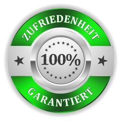 Silber 100 Prozent Zufriedenheit Siegel mit grünem Rand