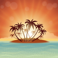 Tropical island with palm trees at sunset
