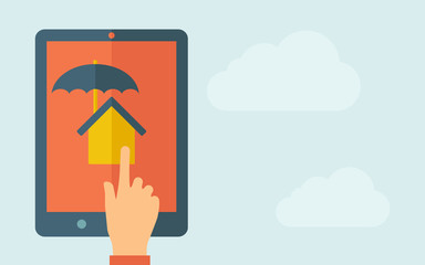 Touch screen tablet with house umbrella icon