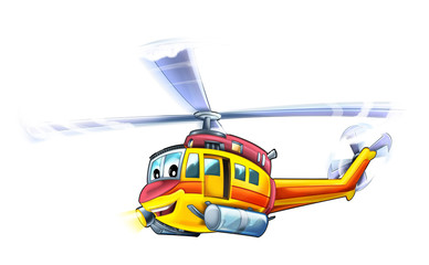 Cartoon plane - helicopter - caricature - illustration