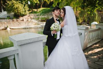 Young beautiful wedding couple near lake