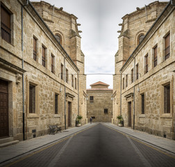 street with monuments in Rodrigo town, Spain - creative edition