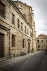 street with monuments in Rodrigo town, Spain