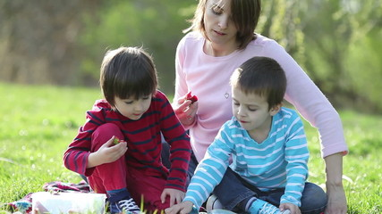 Two cute boys and mom, reading a book in the park