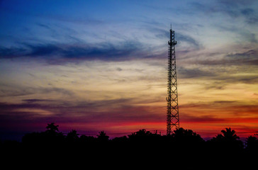 Silhouette  Antenna transmission in sunset time