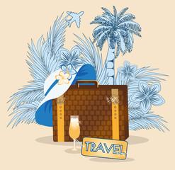 Summer travel congratulations card, vector illustration