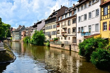 Picturesque houses lining the canals of Strasbourg, France