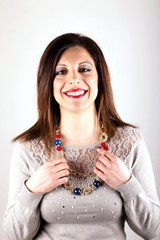 Studio shot of a woman with necklace