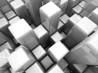 Abstract Futuristic White Cubes Background