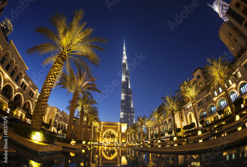 Evening view of downtown Dubai with Burj Khalifa in background