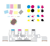 printing set - printing rosettes, printing machine and cmyk