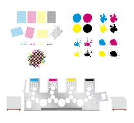 printing set - printing rosettes, printing machine and cmyk