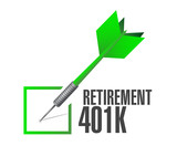 retirement 401k check dart sign concept poster