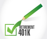 retirement 401k check mark sign concept poster