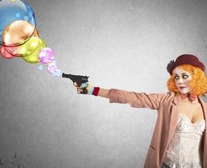 Gun shoots bubbles