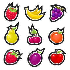 Set of colorful fruits icons