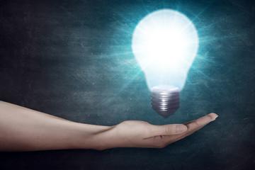 Closeup of human hand holding light bulb. Creativity concept