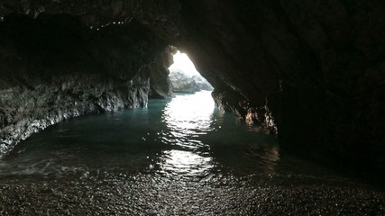 Cave with sea water (Greece,  Kefalonia).