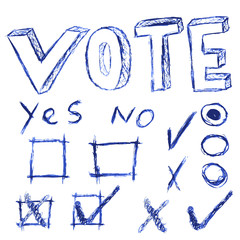 hand draw sketch of vote