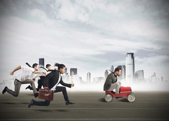Businesspeople competing