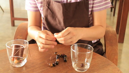 Beautiful handmade stone beads bracelet, Stock Video