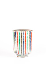 Antique crack ceramic tea cup porcelain with colorful pattern is