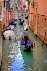 Venice, Italy, gondolier ready for tourists.