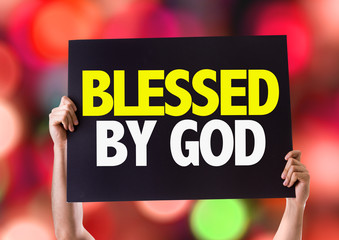 Blessed By God card with bokeh background