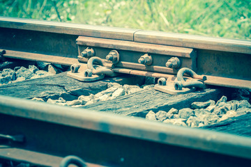 Close up of old joint railway track