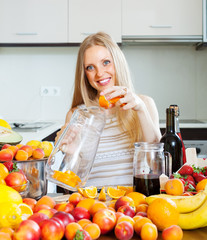 girl making beverages with fruits