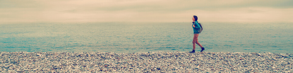 Girl walking on beach