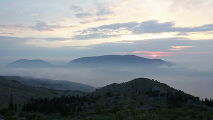 Sunrise summer mountain landscape (Kefalonia, Greece).