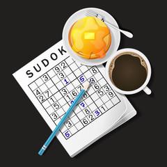 illustration of Sudoku game, mug of coffee and pancake